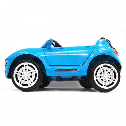 Электромобиль Porsche Macan синий (колеса резина, сиденье кожа, пульт, музыка)