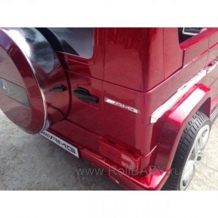 Электромобиль Mercedes-Benz G65 LS-528 вишневый (колеса резина, кресло кожа, пульт, музыка)
