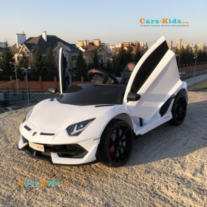 Электромобиль Lamborghini Aventador SVJ - HL328 белый (колеса резина, кресло кожа, пульт, музыка)